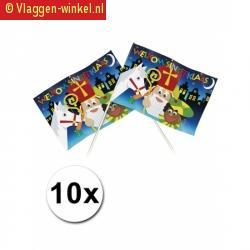 10 welkom sinterklaas thema zwaaivlaggetjes 20 x 30 cm