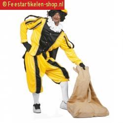 Fluweel pietenpak geel zwart
