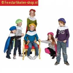 Kinder pieten baret en cape geel
