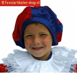 Kinder pieten baretje blauw rood