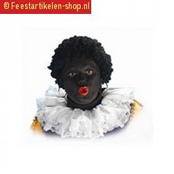 Luxe zwarte piet kragen wit van stof