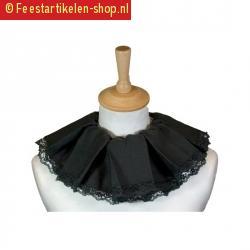 Luxe zwarte piet kragen zwart van stof