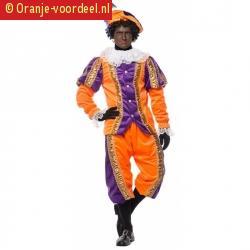 Sinterklaas deluxe pieten kostuum paars met oranje