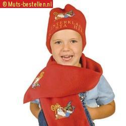 Sjaal en muts rood voor kinderen sinterklaas