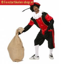 Zwart met rood pieten kostuum