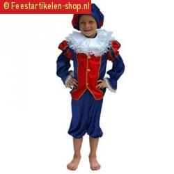 Zwarte piet kostuum kind rood blauw